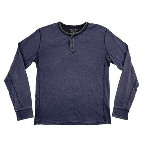 Lucky Brand Henley Shirt Men Large Purple Thermal